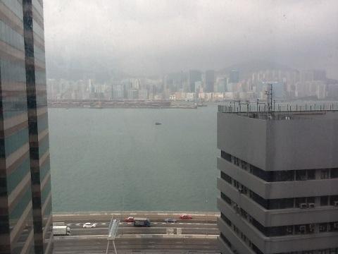 Utsikt fra hotellrommet i Hong Kong